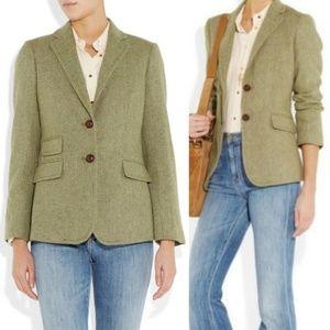 J. Crew Green Hacking Blazer Jacket 100% Wool Sz 8